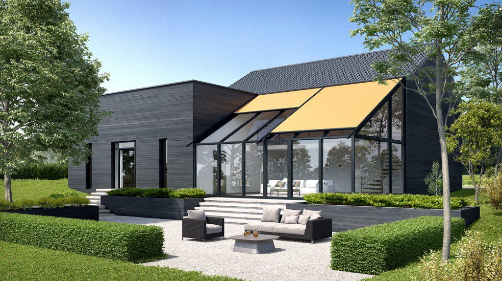 erwilo Wintergartenmarkise als Sonnenschutz mit orangem Tuch, modernem Design und einfacher Montage über dem Wintergarten.